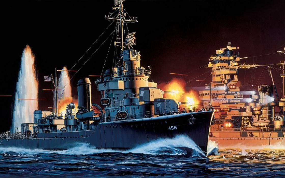 art navy ship military ships Laffey DD-459 wallpaper