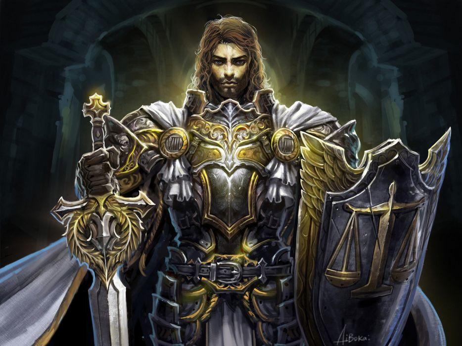 art warrior paladin sword shield cross cloak armor knight warrior wallpaper