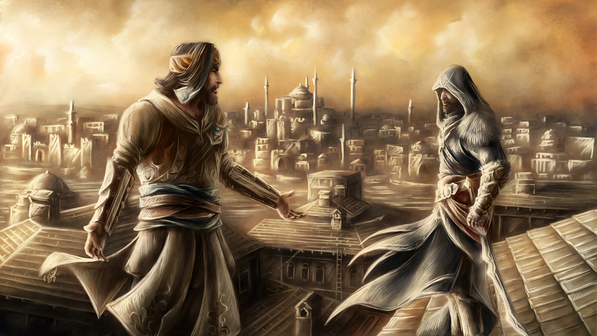 Assassins Creed Painting Art Games Wallpaper 1920x1080 100474