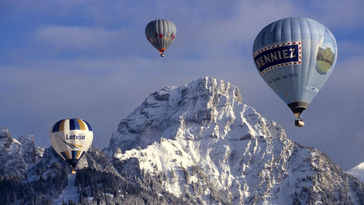balloons mountain flight balloon wallpaper