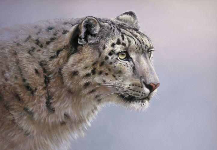 Big cats Snow leopards Painting Art Glance wallpaper