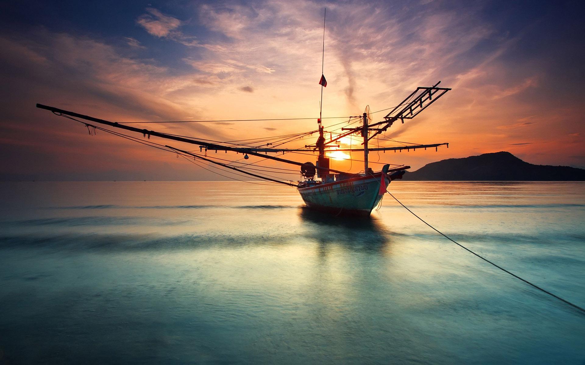 Summer Reflections Collections >> Boat Sunset Ocean wallpaper | 1920x1200 | 100505 | WallpaperUP