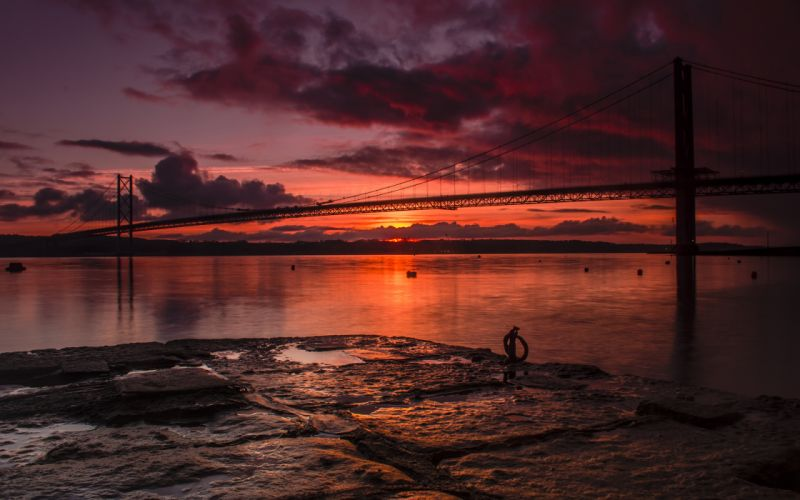 Bridge Sunset Ocean Clouds Landscape reflection wallpaper