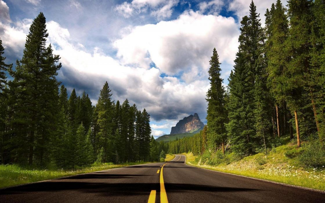 clouds travel road forest cloud wallpaper