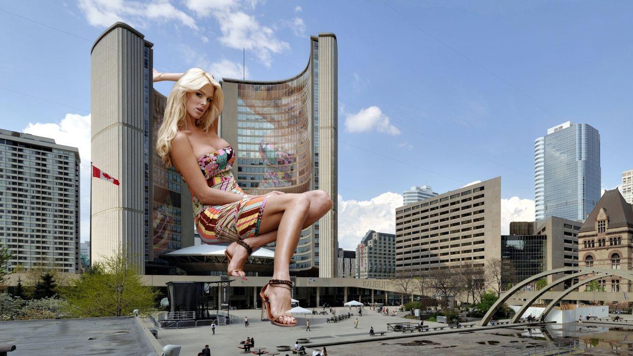 Creative Blonde girl Girls Cities wallpaper