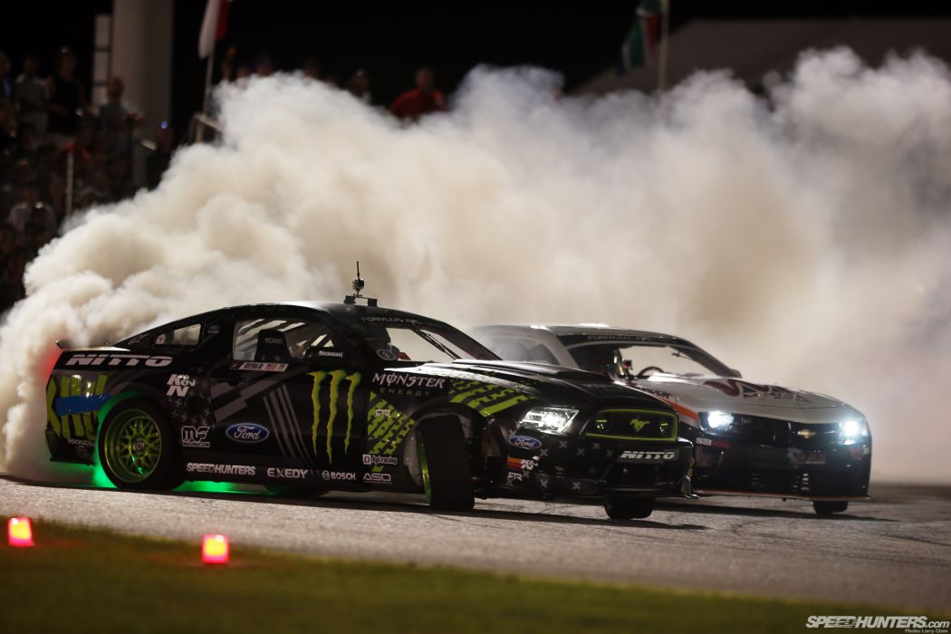 Ford Mustang Lights Drift Smoke Night race racing muscle  f wallpaper