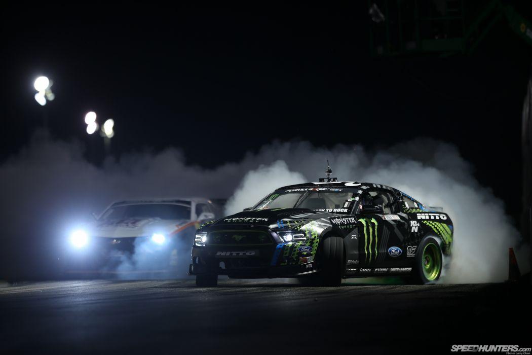 Ford Mustang Lights Drift Smoke Night race racing muscle wallpaper