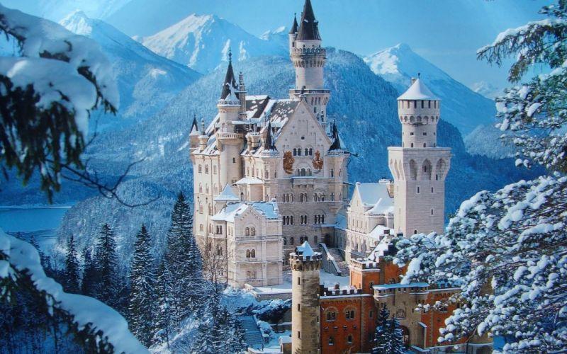 germany castle raynshvanshtayn winter wallpaper
