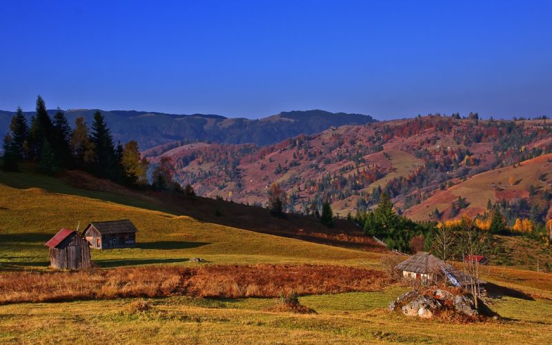 hills houses trees sky landscape autumn wallpaper