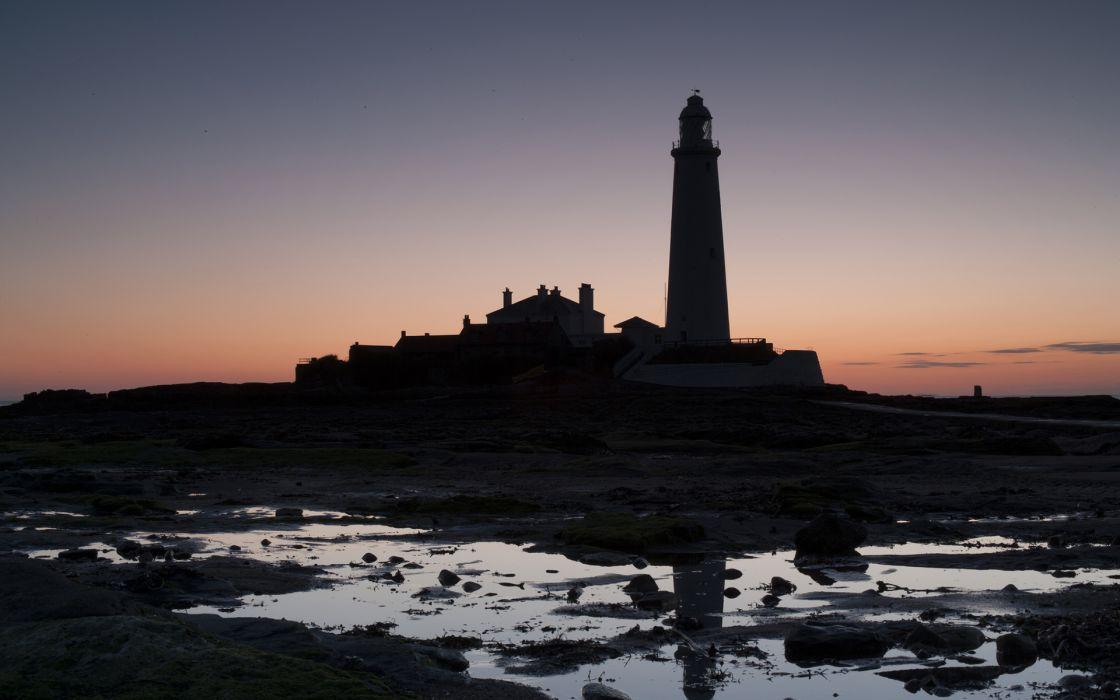 Lighthouse Backlight Sunset Reflection wallpaper