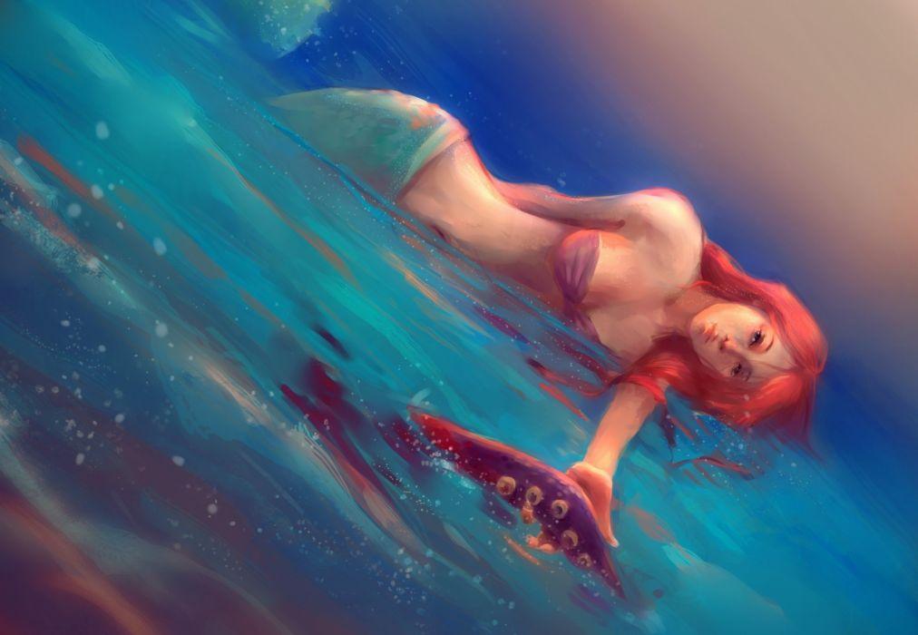 Mermaid Painting Art Redhead girl Fantasy Girls wallpaper