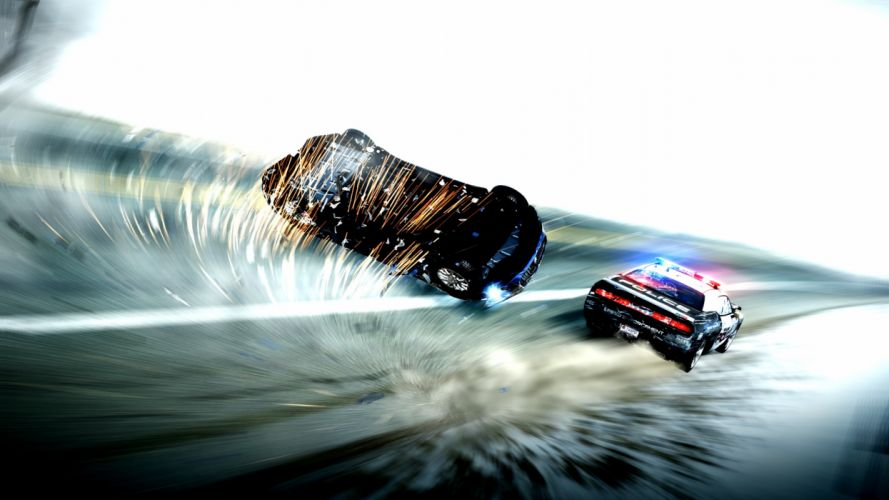Need for Speed Hot Pursuit Police Crash Roll Accident wallpaper