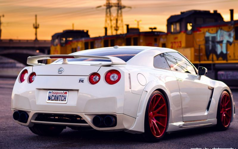 Nissan GT-R white back red wheels sky sunset tuning supercar supercars wallpaper