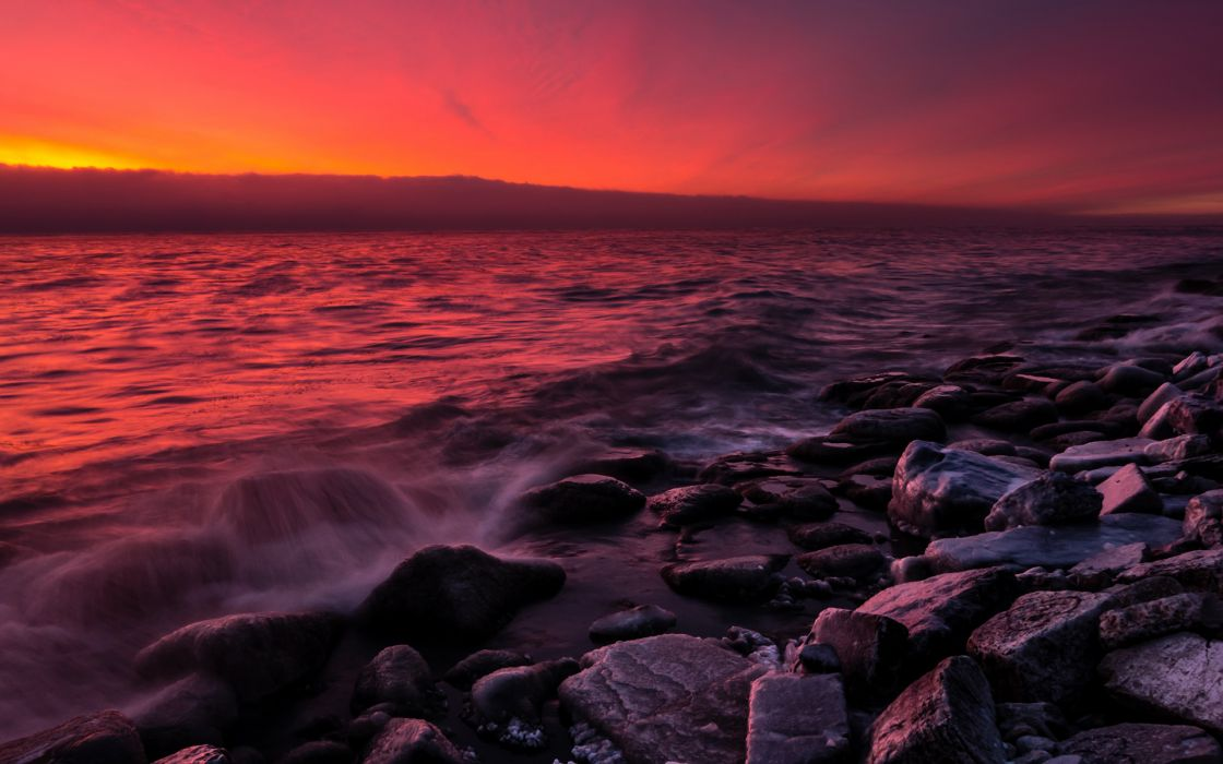 Ocean Rocks Stones Sunset Shore r wallpaper