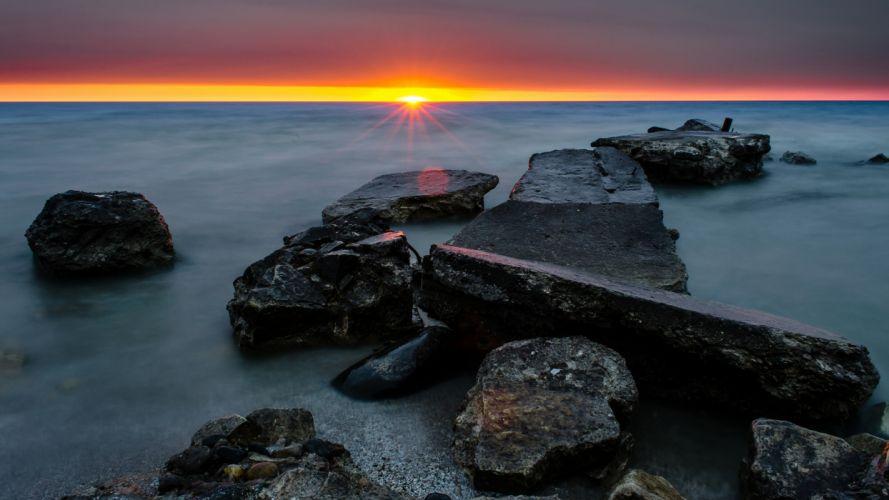 Ocean Rocks Stones Sunset Shore wallpaper