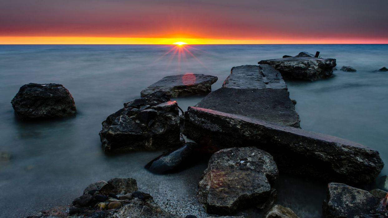 Ocean Rocks Stones Sunset Shore wallpaper