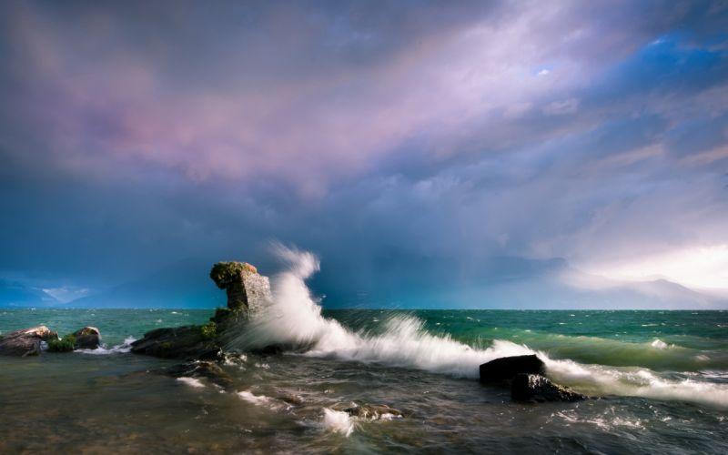 Ocean Splash Rock Stone wallpaper