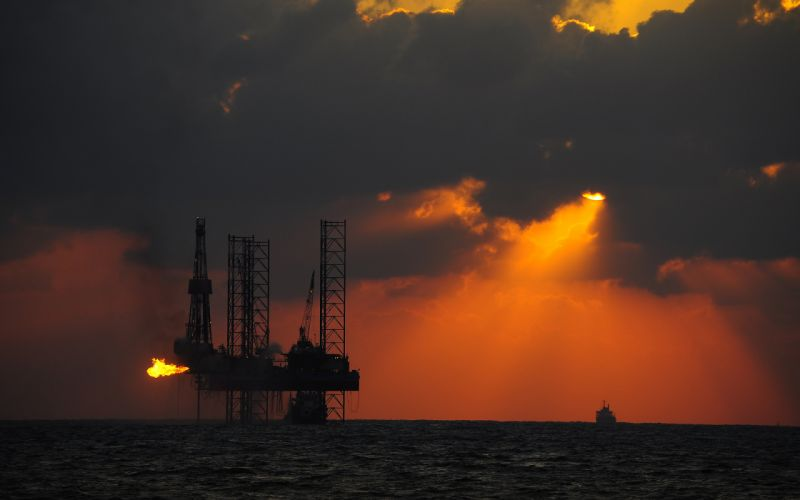 Oil Rig Platform Sunlight Clouds Ocean Boat Fire wallpaper