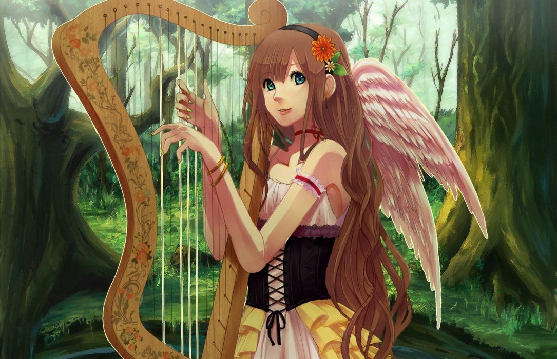 original Angels Wings Fantasy Girls Anime wallpaper