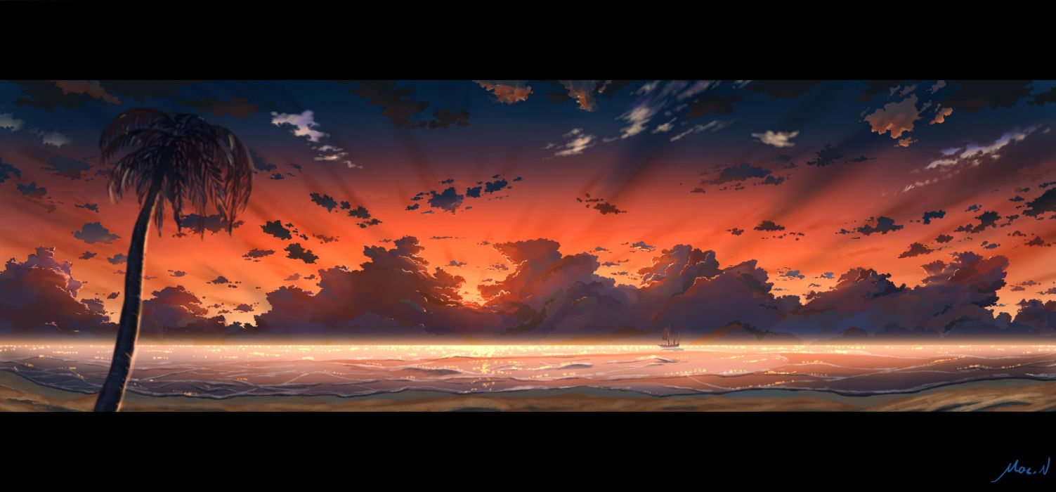original beach boat clouds mac naut original scenic signed sky sunset tree water wallpaper