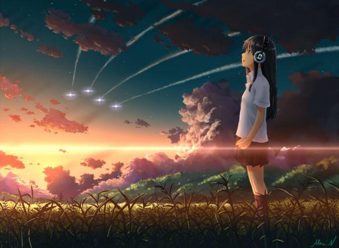 original brown eyes brown hair clouds grass headphones kneehighs mac naut original scenic signed skirt sky stars sunset wallpaper