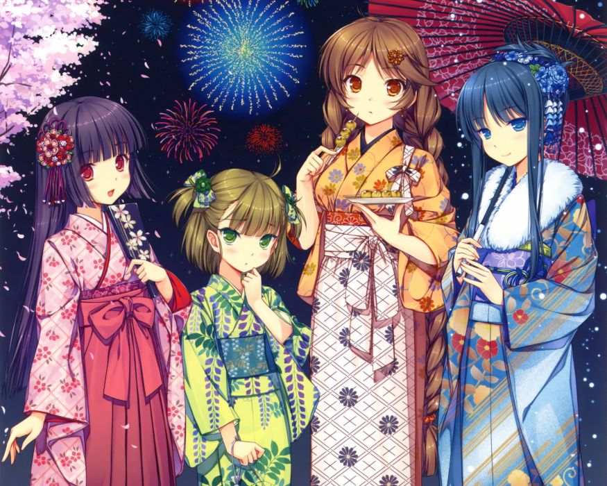 original black hair brown hair fireworks japanese clothes original sayori yukata wallpaper