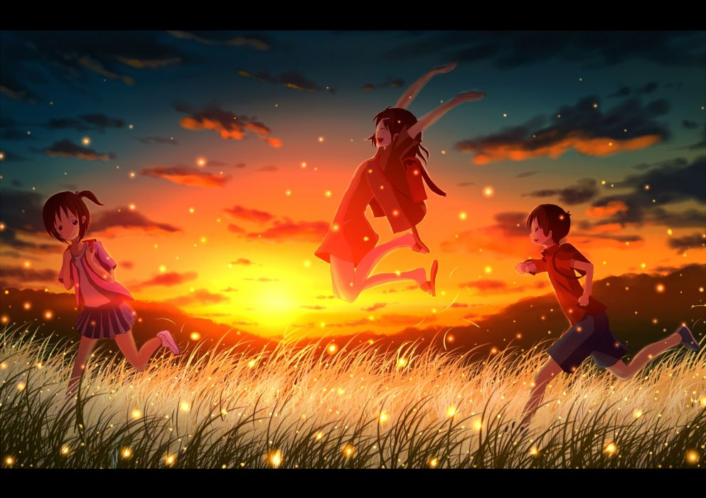 original brown eyes brown hair clouds grass mac naut scenic sky sunset wallpaper