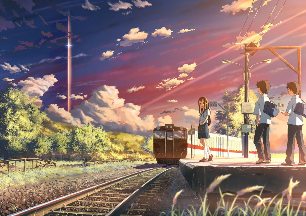 original clouds forest grass mac naut seifuku sky sunset train tree wallpaper