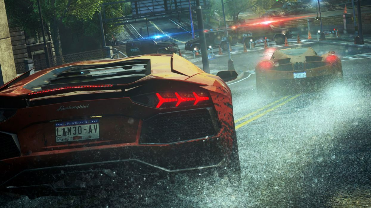 Pagani Huayra Lamborghini Aventador Need for Speed Rain Blockade wallpaper