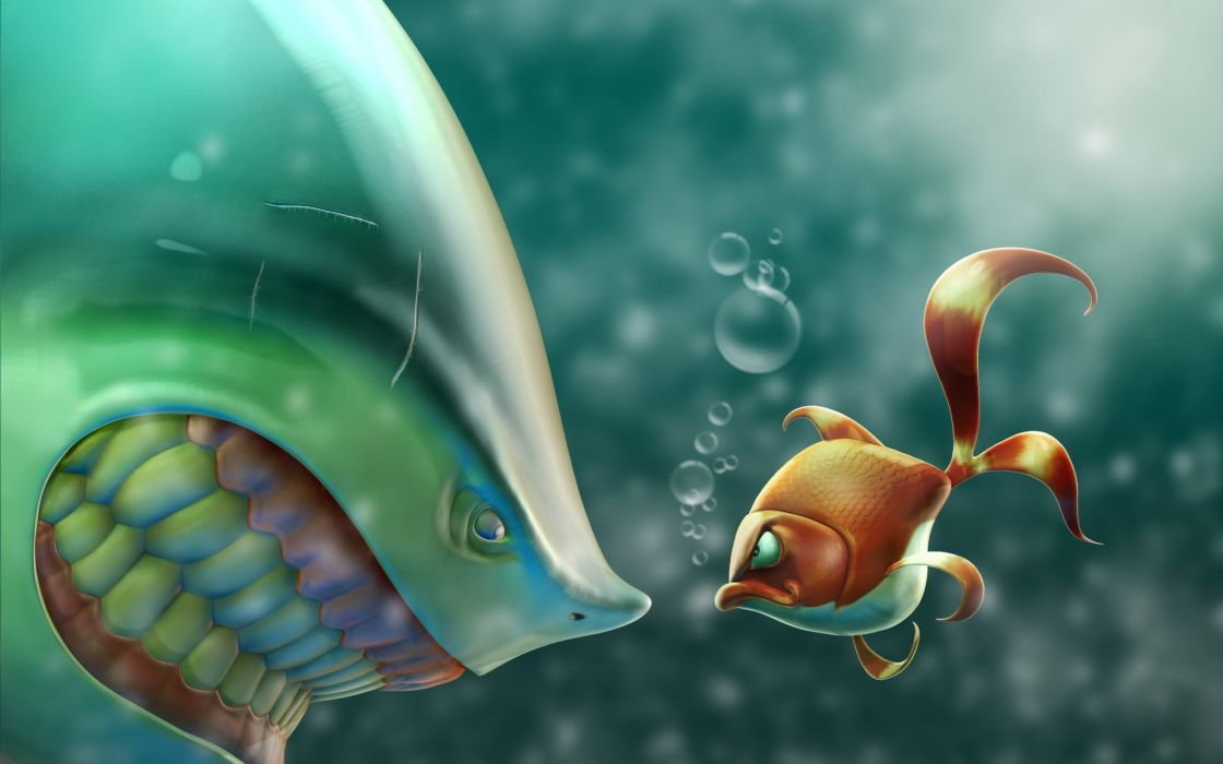 situation the fish the fish shark golden anger bubbles sea wallpaper