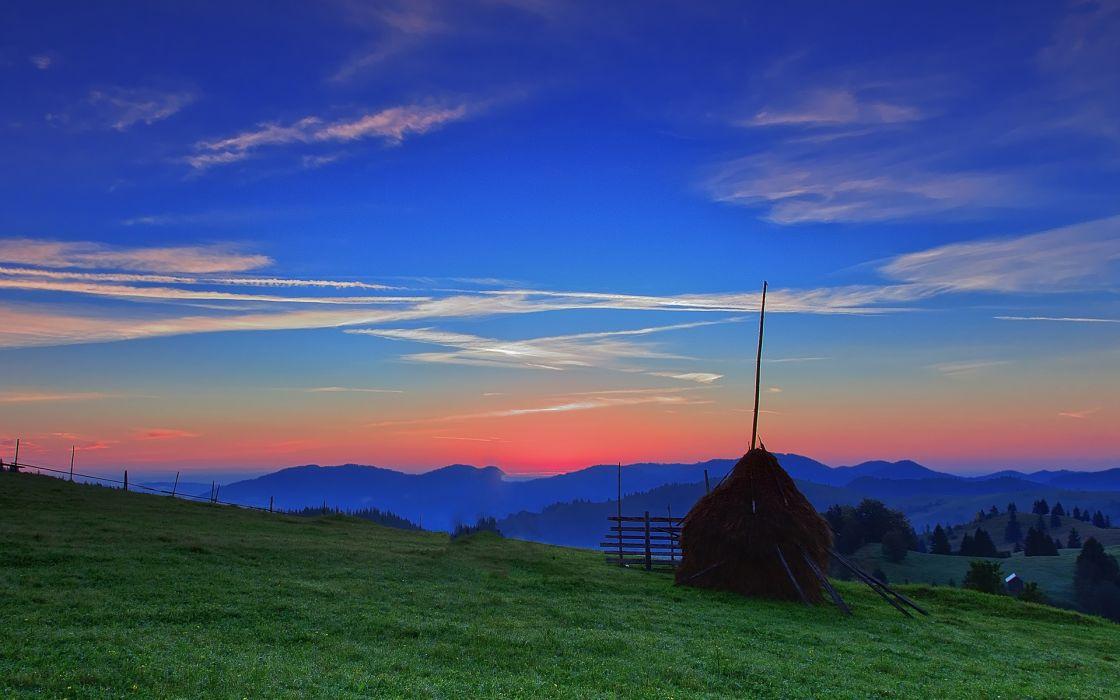sunset field sky stack landscape wallpaper