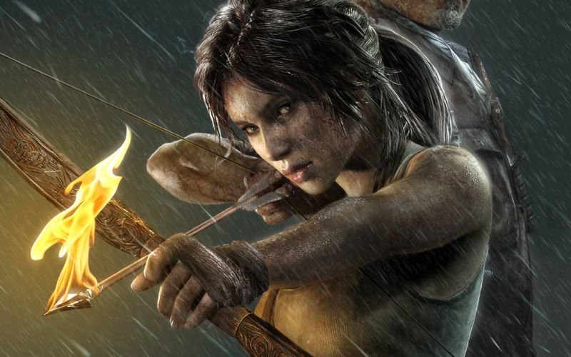 Tomb Raider 2013 Archers Warriors Fire Rain Lara Croft Games Girls wallpaper