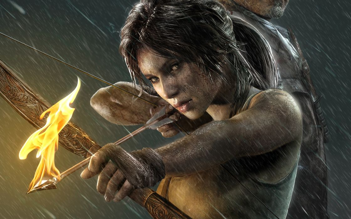 Tomb Raider 2013 Archers Warriors Fire Rain Lara Croft Games Girls wallpaper