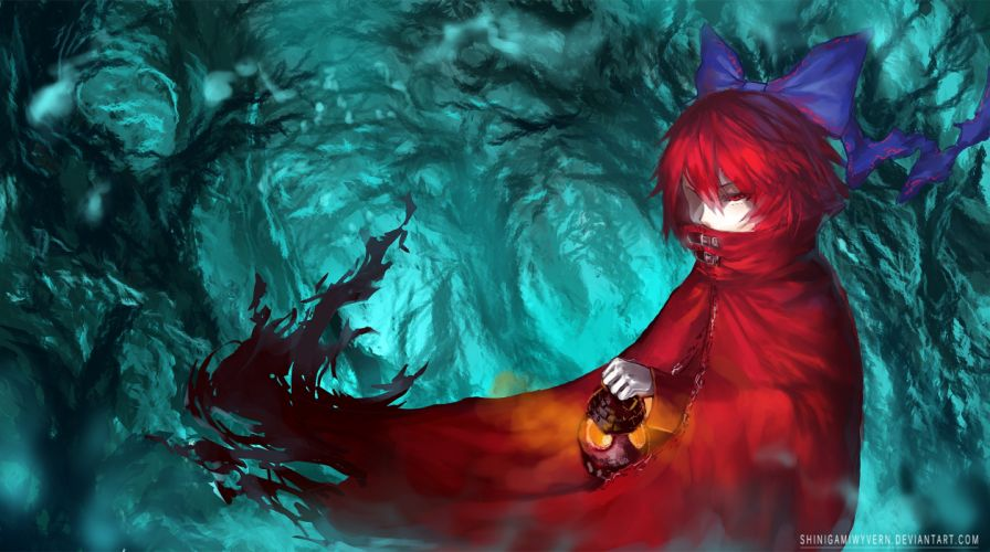 touhou blue bow cape forest red eyes red hair ribbons sekibanki short hair tagme touhou tree wallpaper