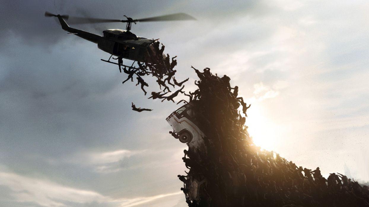 World War Z Crowd Helicopter Sunlight Fall dark wallpaper