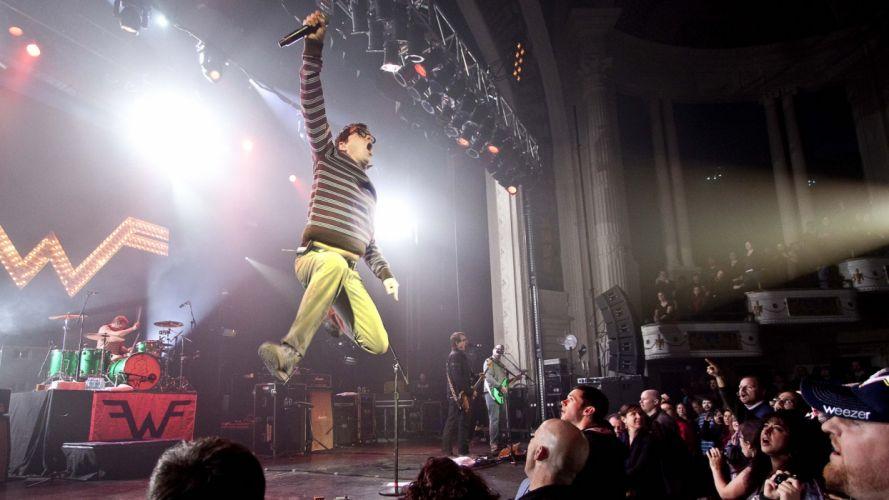 WEEZER Alternative-rock power-pop pop-punk emo indie alternative microphone concert drums wallpaper
