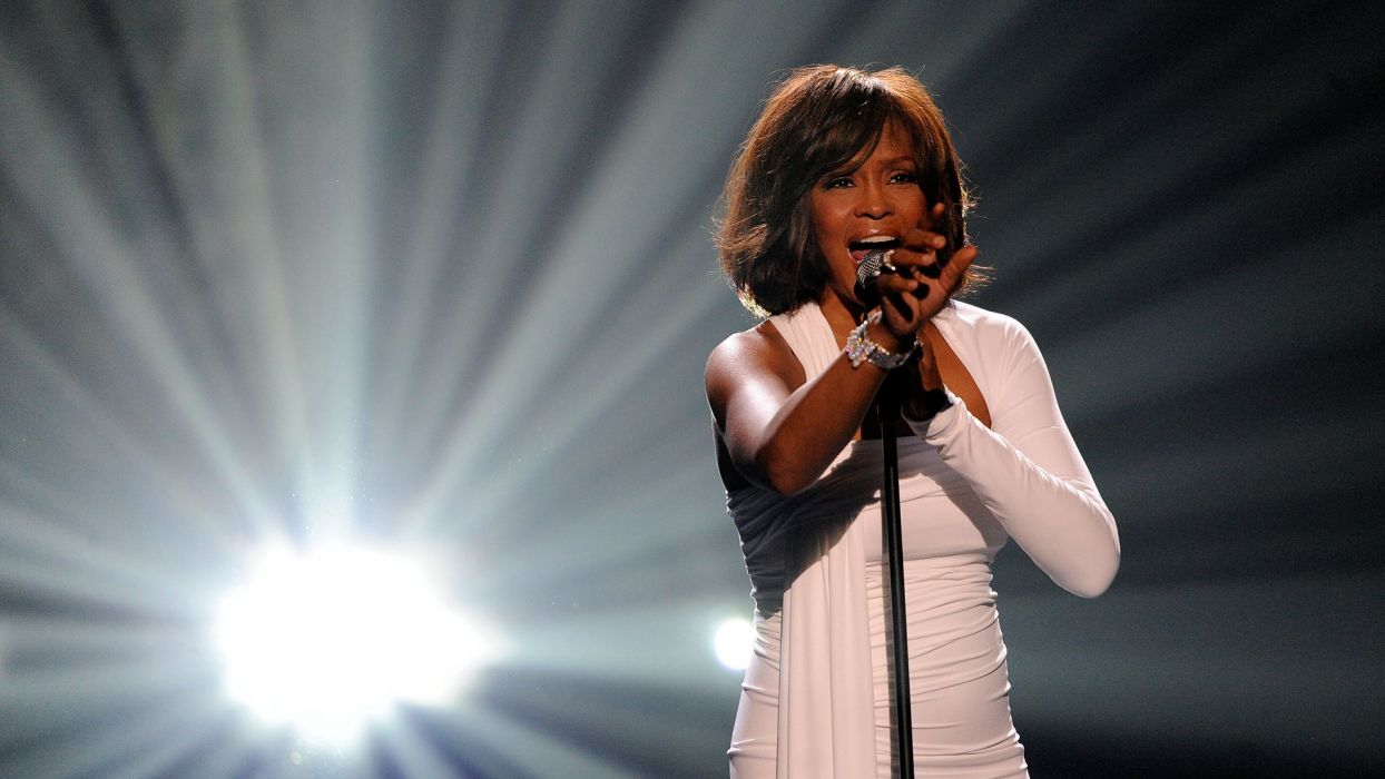 WHITNEY HOUSTON r-b soul pop microphone concert concerts wallpaper