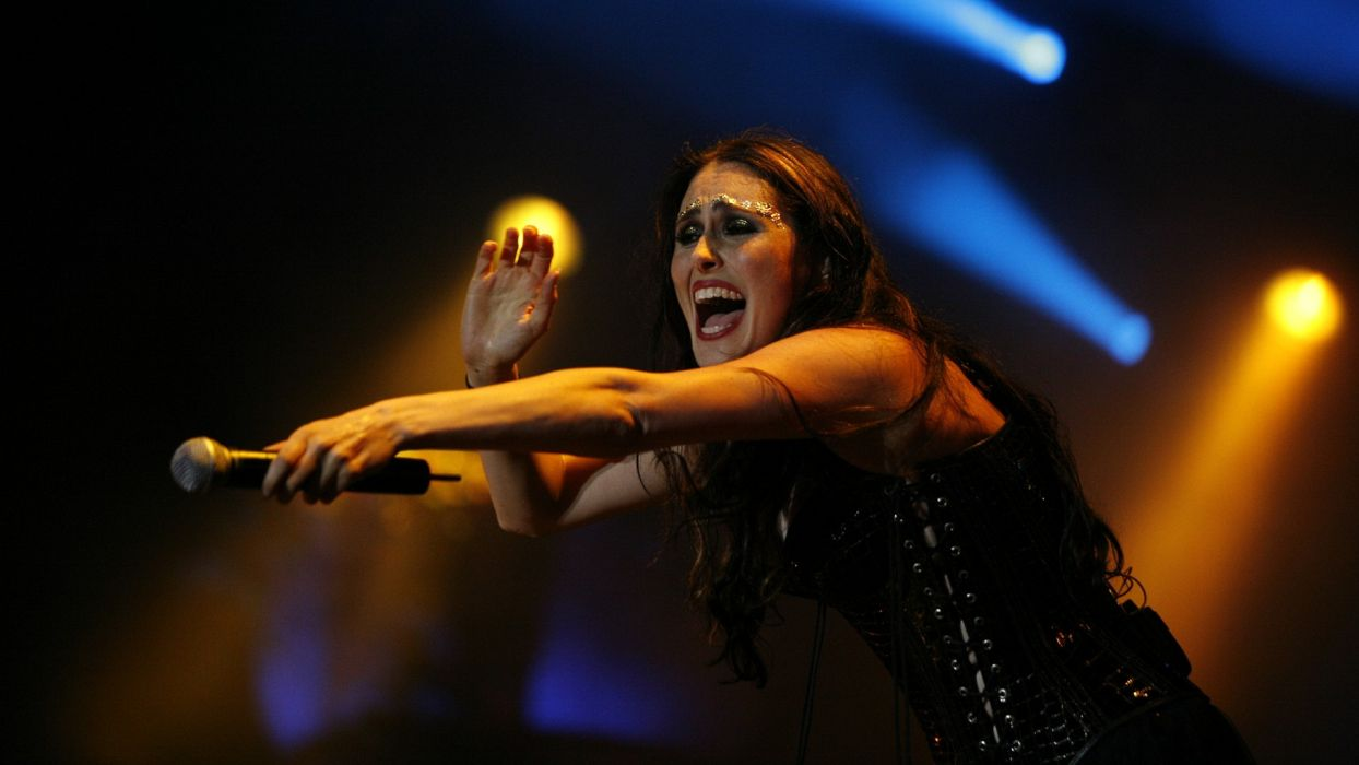 WITHIN TEMPTATION gothic metal symphonic sharon heavy adel microphone concert  d_JPG wallpaper