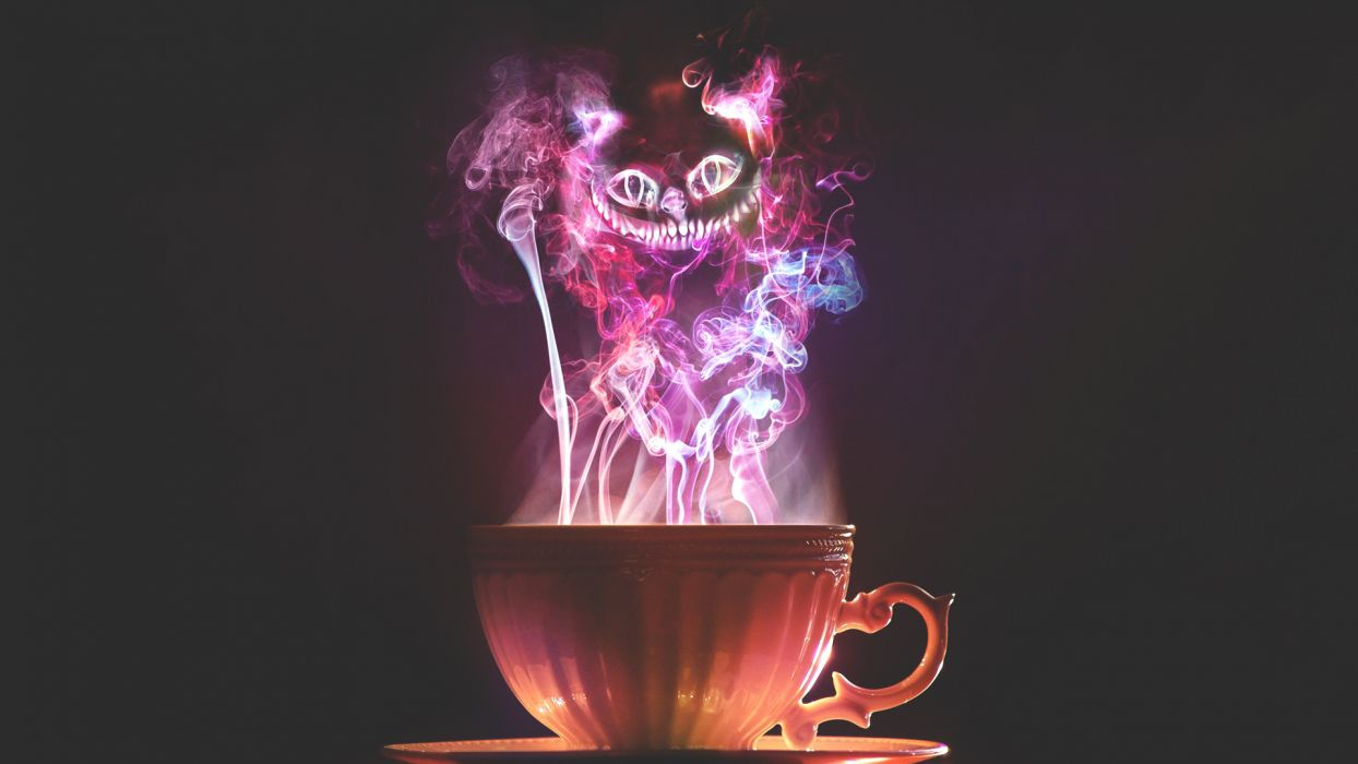 cat Cup cheshire smoke wallpaper