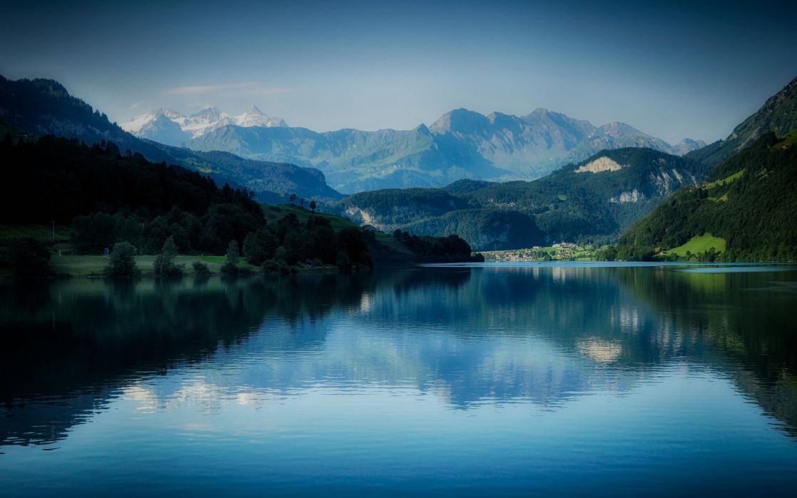 mountain forest lake landscape reflection wallpaper
