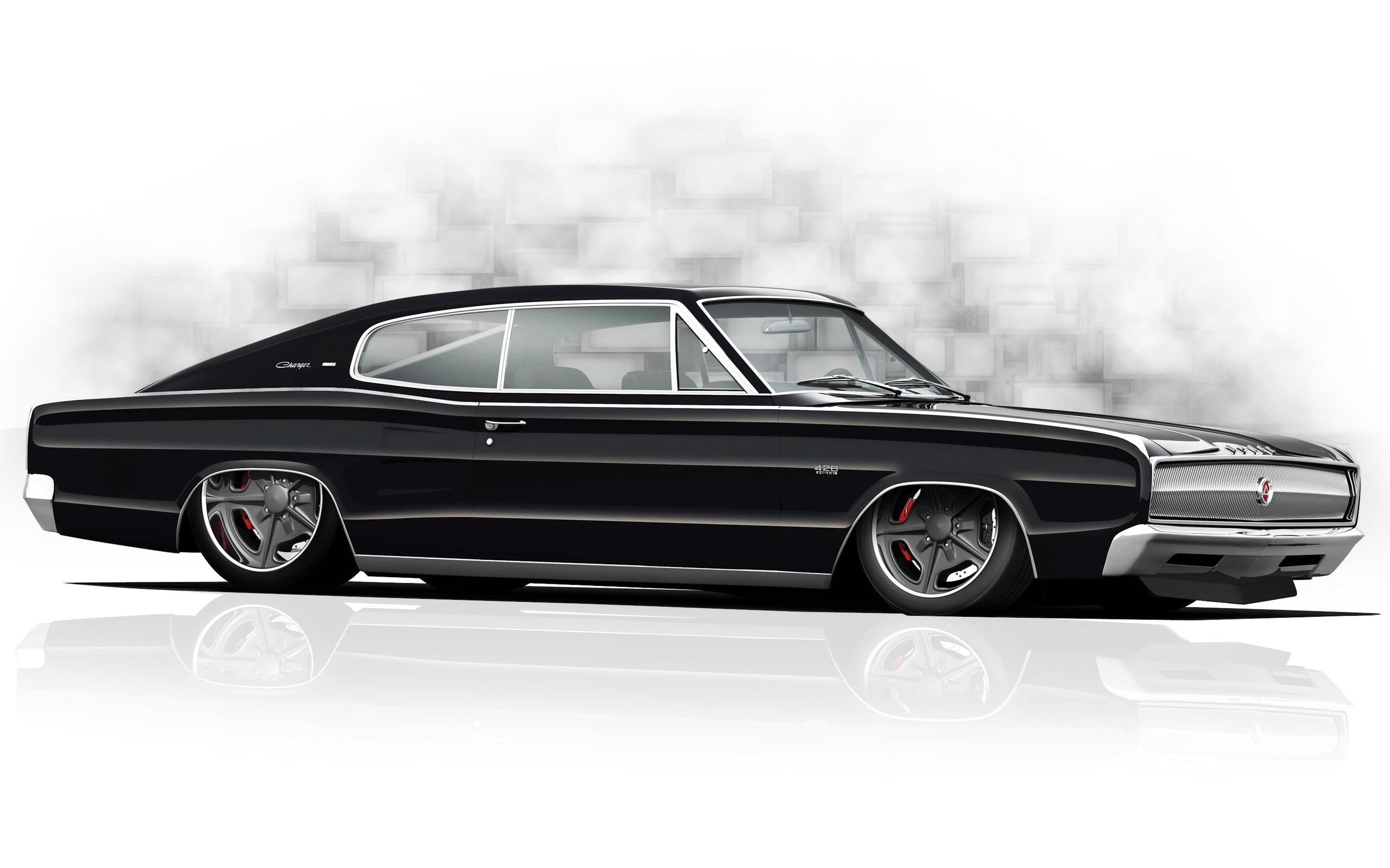 Muscle Car Tuning Drawing Dodge Charger Classic Wallpaper