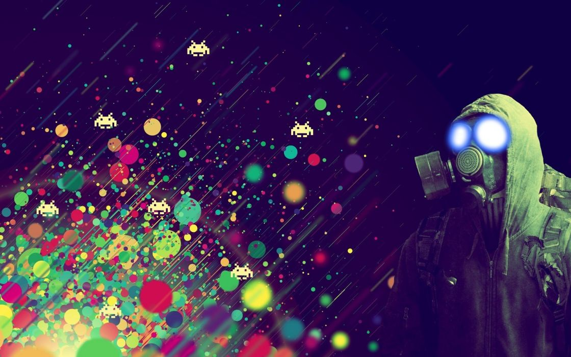 spots mask Abstract colors people space invaders games dark abstract wallpaper