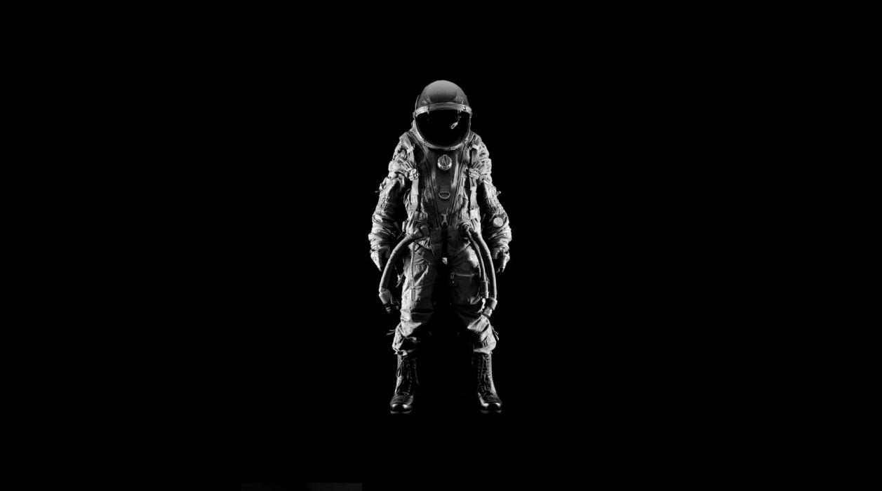 Astronaut Suit Black BW wallpaper