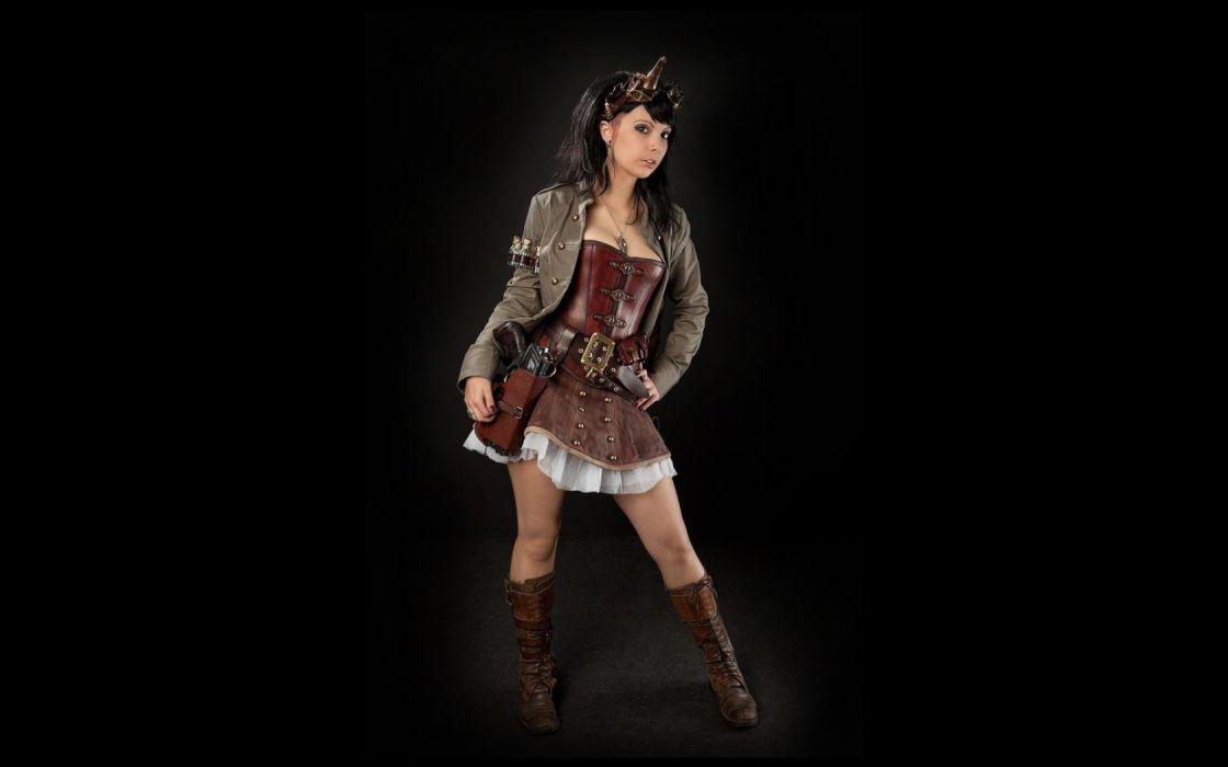 Brunette Black Skirt Cosplay Steampunk wallpaper
