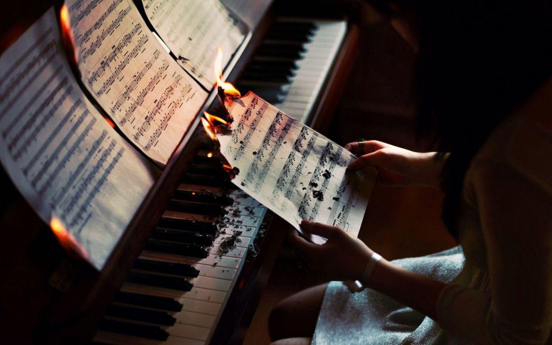 piano fire mood wallpaper