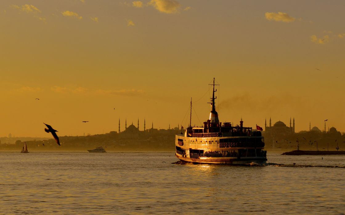istanbul sunset sea ship wallpaper