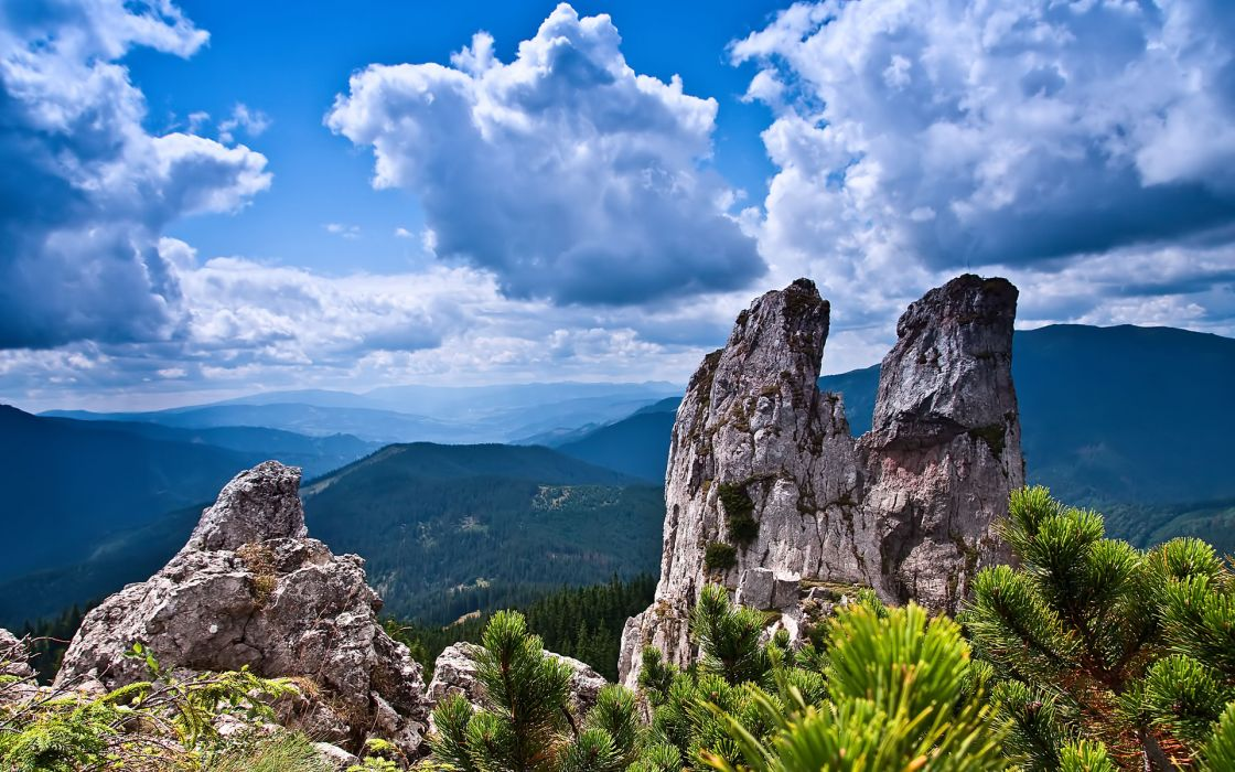 mountains rocks sky clouds branches landscape wallpaper