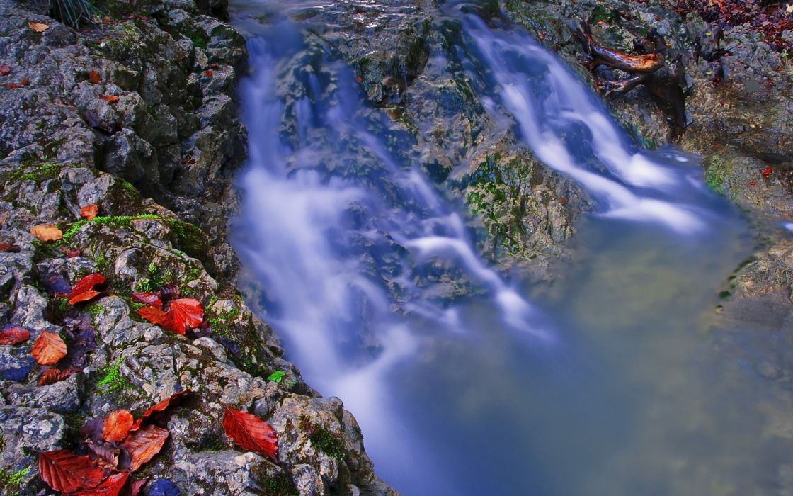 river waterfall leaves nature wallpaper