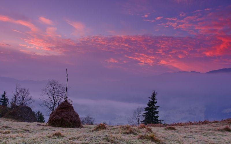 sunset fall field stack fog landscape sky wallpaper