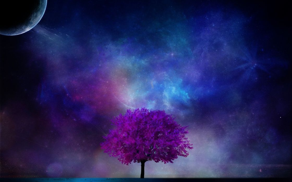 tree planet 3d art nebula sky sci-fi planet moon stars blossom wallpaper